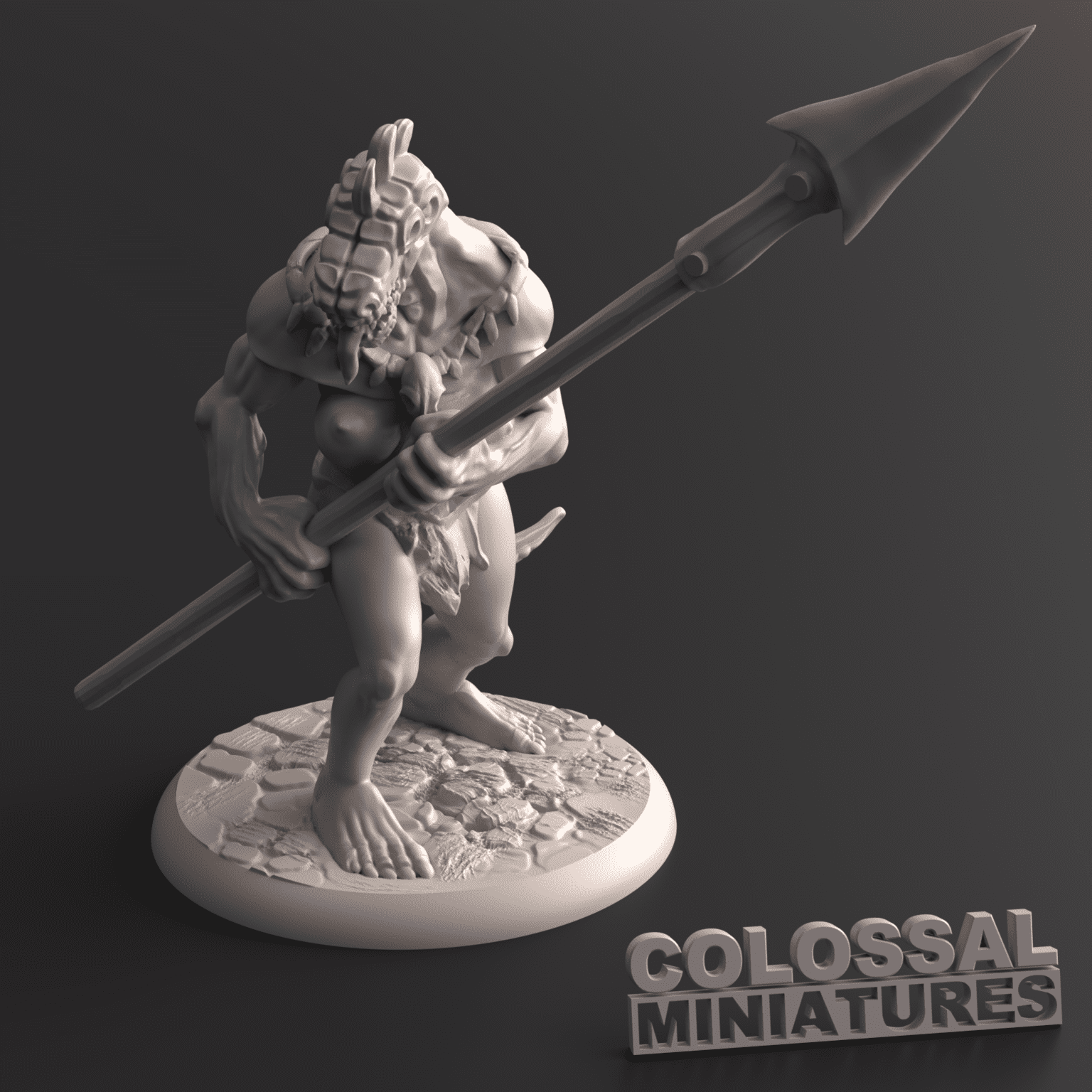 Lizardfolk_Female_Spear_Two_Handed_B_with_base_v001